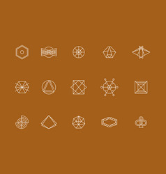 Geometric shape linear icon and sign set vector