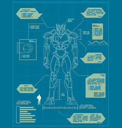 Giant robot blueprint vector