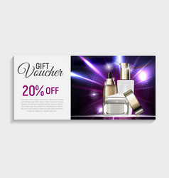 Gift voucher with design cosmetics produc vector