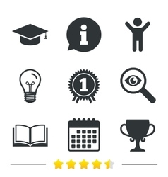 Graduation icons Education book symbol vector image
