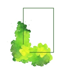 Green watercolor spot with frame vector