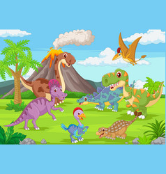 group funny dinosaurs in jungle vector image