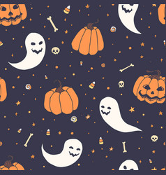 Halloween repeat pattern with pumpkins ghosts vector