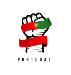 Hand and flag portugal template design vector