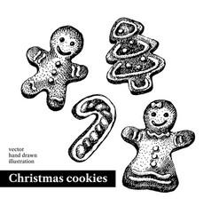 hand drawn sketch christmas cookies tree man vector image