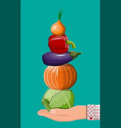 hand with organic products vector image