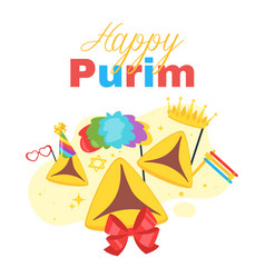 Happy purim celebration layout template vector