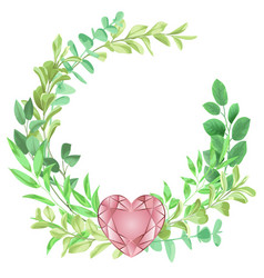 Happy valentines day with herb frame vector