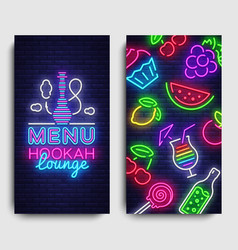 Hookah lounge menu design template hookah vector