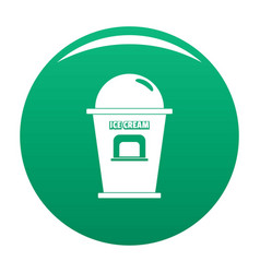 Ice creme trade point icon green vector