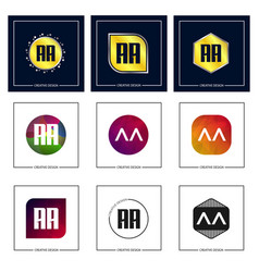 initial letter aa logo set design vector image
