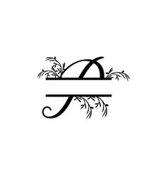initial p decorative plant monogram split letter vector image