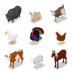 Isometric Farm Animals Set with Cow Rabbit vector