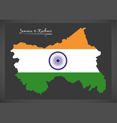 Jammu and kashmir map with indian national flag vector