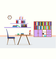 living room interior library with table chair vector image