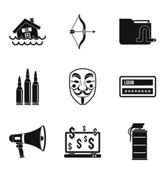 Lure icons set simple style vector