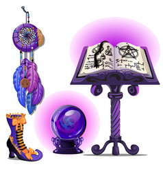 magical book with spells and pentagram glass vector image