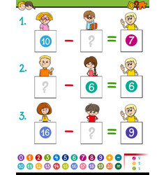 Maths subtraction game with farm animals vector