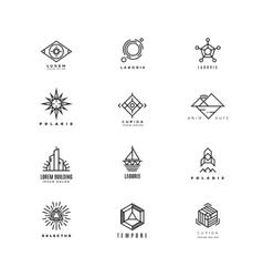 minimal geometric vintage labels set vector image