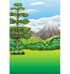 Nature scene with field and mountains vector image