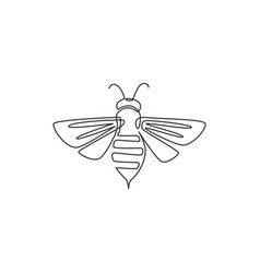 one continuous line drawing elegant bee for vector image