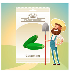 Pack cucumber seeds icon vector
