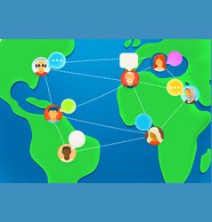 people works together via internet online working vector image