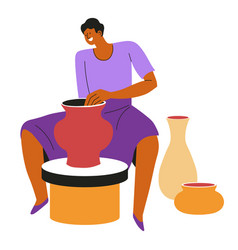 Potter making clay vases or pots pottery vector