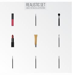 Realistic brush brow makeup tool eye paintbrush vector