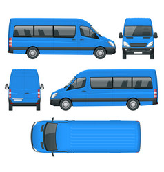 Realistic van template in outline isolated vector