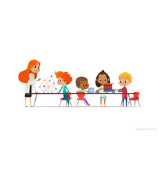 Redhead female teacher and school children vector