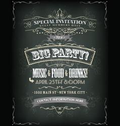 Retro party invitation on chalkboard royalty free vector stopboris Choice Image