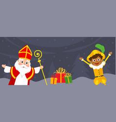 Saint nicholas and kid celebrate holidays vector