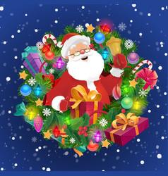 santa with xmas bell gift box christmas wreath vector image