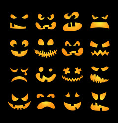 Scary Halloween pumpkin faces set vector image