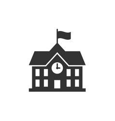 School building icon in flat style college vector