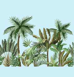 seamless border with tropical tree such as palm vector image