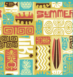 Seamless exotic tiki pattern vector