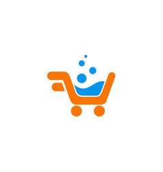 shopping chart bubble logo vector image