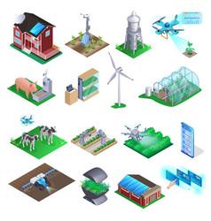 smart farm element set agriculture technology vector image