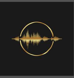 Sound wave beat spectrum modern luxury gold logo vector