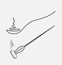 Spoon with hot food drawing one line fork with a vector
