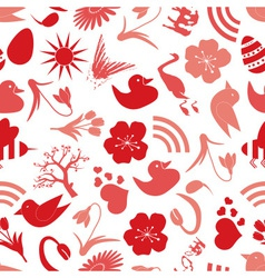 spring icons seamless pattern eps10 vector image