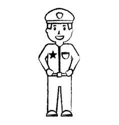 standing policeman smiling uniform and cap vector image