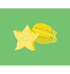 star fruit single isolated with green background vector image