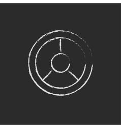 Steering wheel icon drawn in chalk vector
