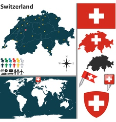 Switzerland map world vector