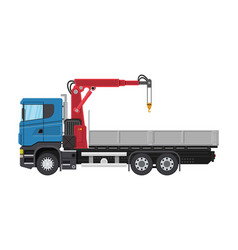 Truck with crane and platform vector