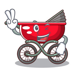 Two finger cartoon baby stroller in the beach vector
