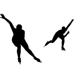 two women speed skaters black silhouette on white vector image